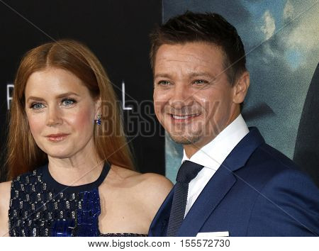 Jeremy Renner and Amy Adams at the Los Angeles premiere of 'Arrival' held at the Regency Village Theater in Westwood, USA on November 6, 2016.