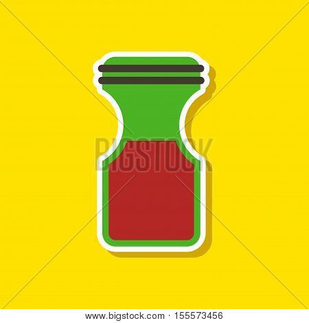 paper sticker on stylish background of coffee jar