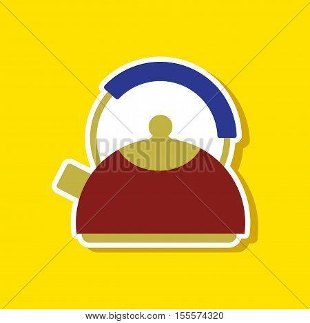 paper sticker on stylish background of dishware kettle