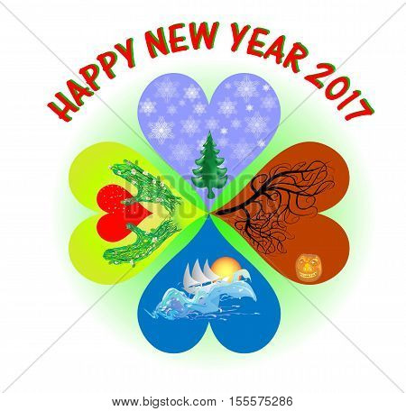 New Year's greeting card in the shape of heart cloverleaf with four seasons. Four hearts with symbols of winter, spring, summer and autumn