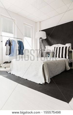 Interior With White Bed