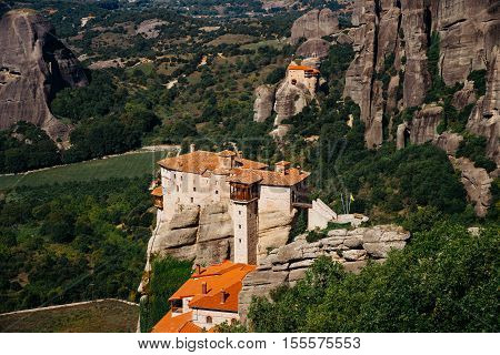 Meteora monasteries, the Holy Monastery of Varlaam at foreground, Greece.