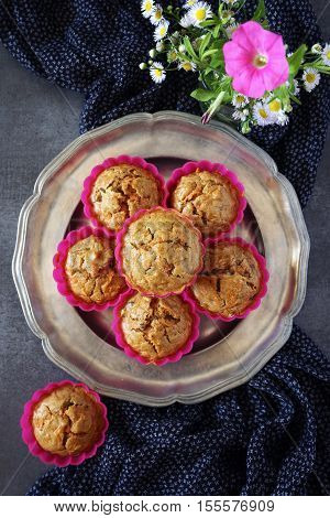 Summer mood: Carrot muffins and pink flowers