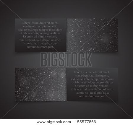 Set of Horizontal Black Paper Rectangle Banners Template. Vector Illustration. Snow, Blizzard. Winter Holiday New Year and Christmas. Winter Sale and Discount. Mock up, Card.