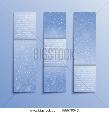 Set of Vertical Paper Blue Rectangle Banners Template. Vector Illustration. Snow, Blizzard. Winter Holiday New Year and Christmas. Winter Sale and Discount. Mock up, Card.
