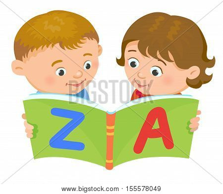 Cartoon kids reading book boy girl isolated vector illustration european