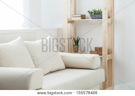 Comfortable white sofa with soft cushions in living room of a house. Wooden shelf with books and plants on background