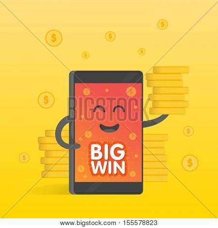 Smartphone concept of money earnings a lot of coins. Background of the money falls. Cute cartoon character phone with hands eyes and smile.