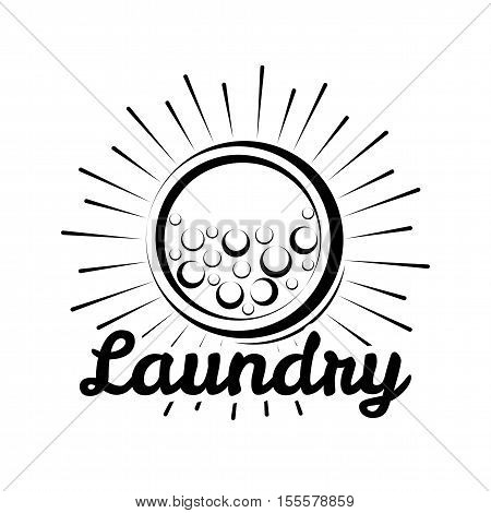 Laundry Room label and badge. washer, washing machine bubbbles. Vector Illustration