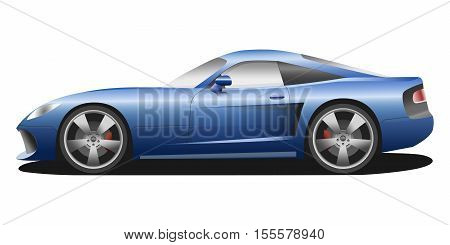 Vector sport car. Sport automobile flat icon. Blue modern auto. Speed symbol. Flat design. Illustration isolated on white background