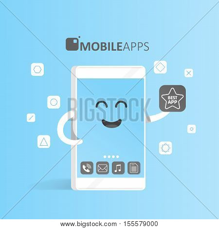 Smartphone concept of online app market purchase presentation and selection of applications. Cute Cartoon character phone with hands eyes and smile.