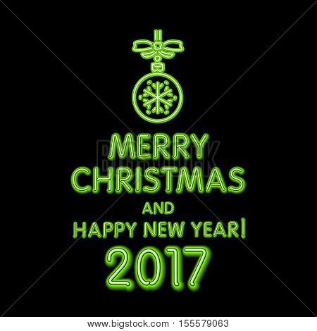 Christmas Neon Sign. Vector Illustration. Green Merry Christmas And Happy New Year 2017 Neon, Light