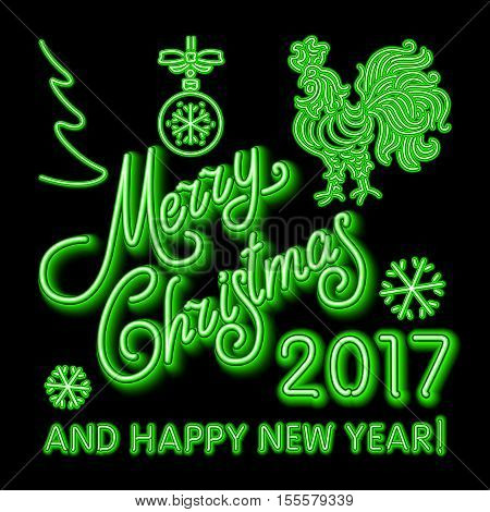 Green Christmas Neon Sign. Vector Illustration. Green Merry Christmas And Happy New Year 2017 Neon,