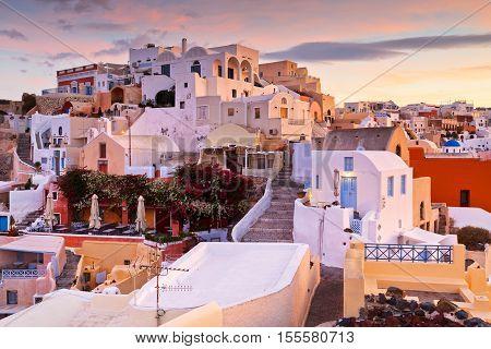 OIA, GREECE - NOVEMBER 04, 2016: View of Oia village on Santorini island in Greece on November 04, 2016.