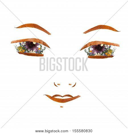 Application, Confident Girl Face Made Of Dried Flowers