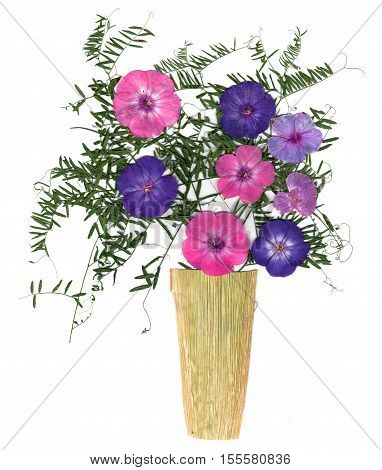 Application, A Bouquet In A Vase Of Dried Pressing Bright Flowers