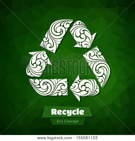 Ornate Recycle Symbol on abstract color background. Decor abstract recycling arrows floral design elements for logo. Illustration for banner, label, package, business sign, identity, branding