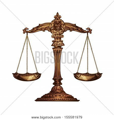 Scales of justice isolated on white background. Vector illustration