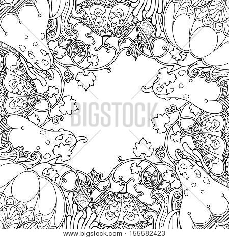 Nature garden frame with Pumpkins and leaves in doodle style. Floral, ornate, decorative, tribal vector design elements. Black and white monochrome background. Zentangle hand drawn coloring book page