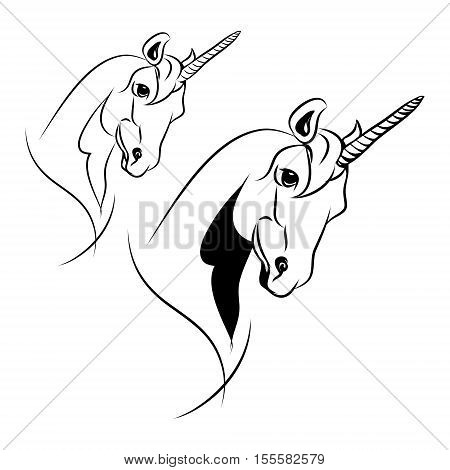 The head of a unicorn on a white background. A mythical horse with a horn on his forehead. Vector set