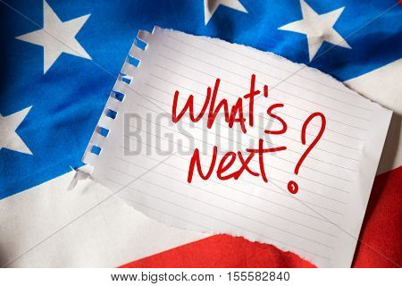 What's Next on notepaper and the US flag