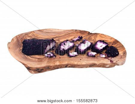 Blueberry vanilla chevre, fresh goat cheese on olive wood cutting board isolated on white background
