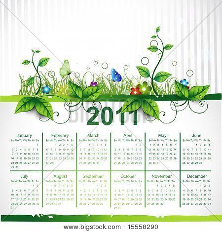 calendar eco leaf vector design poster