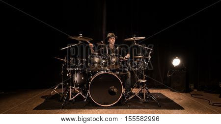 Musical Instrument, Drum Kit On The Stage
