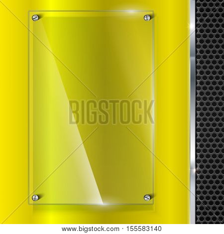 Elegant vector yellow metallic background with glass banner. Color polished texture with highlights and glow on the background of metal mesh. Vector editable texture, easy to change size