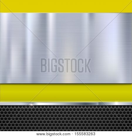Shiny brushed metal plate with screws. Stainless steel banner on yellow polished background with metal strip and black mesh, vector illustration for you