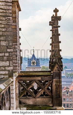 The view of gothic cathedral in Delft, Holland