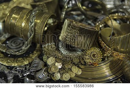 Golden jewelry. Lot of Beautiful Oriental Gold (Indian Arab African). Fashion Ethno Accessories Asian Bridal jewelry. Tribal Moroccan belly Dance Jewelry. Necklace Earrings Bracelets.