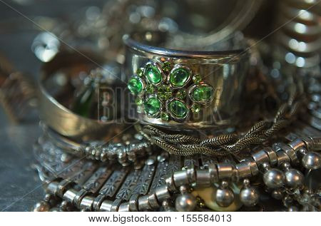 Silver jewelry with emerald. Lot of Beautiful Oriental Silver Gold (Indian Arab African). Fashion Ethno Accessories Asian Bridal jewelry. Tribal Moroccan belly Dance Jewelry. Necklace Earrings Bracelets.