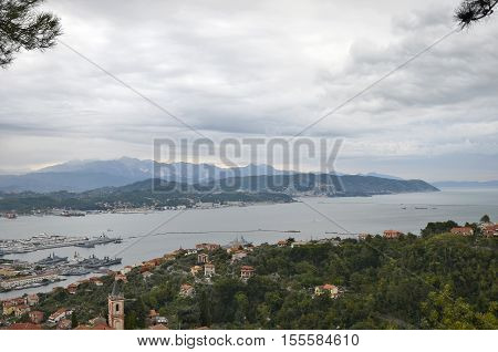 La Spezia Italy - October 11 2016: Panoramic View of La Spezia and the Gulf of Poets in a cloudy autumn day