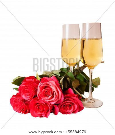 Champagne and pink roses isolated on white background