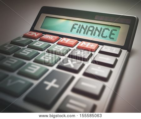 Solar calculator with the word FINANCE on the display. 3D illustration concept image of Business and Finance.
