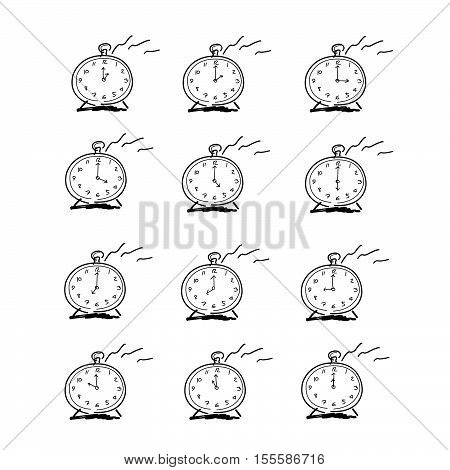Collection Alarm Clock ,vector Design Use Drawing Hands