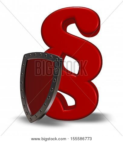paragraph symbol and shield - 3d rendering