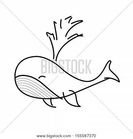 Whale ,hand Drawn Sketch By Illustration With Whale. Mammal In The Ocean.