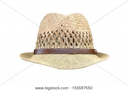 men's straw hat isolated on white background