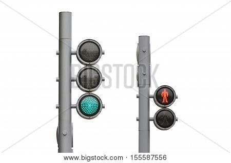 street traffic light isolated on white background