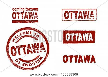 Stylized set of ink stamps showing the city of Ottawa. All on white background.