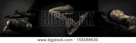 Low key special toned photo triptych of sexy female nude legs in net tights and hands in black leather gloves against dark background horizontal view
