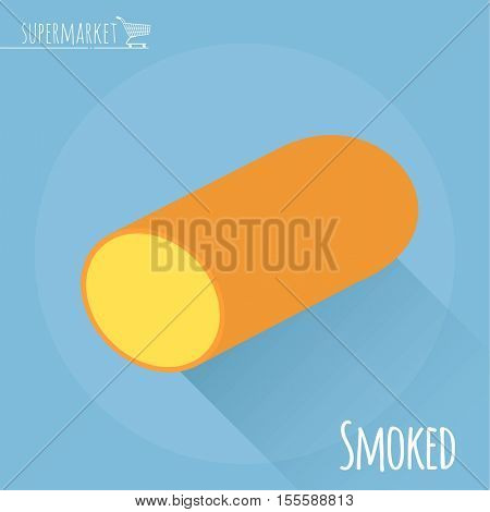 Flat design Smoked cheese vector icon  on light blue background with long shadow