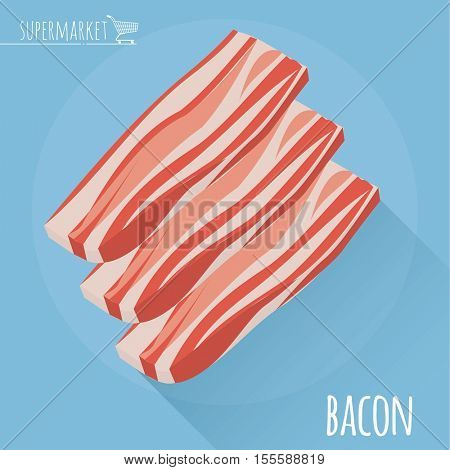 Flat design sliced bacon vector icon on light blue background with long shadow.