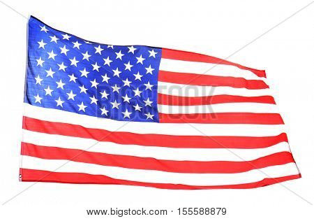 Ruffled American flag isolated on white