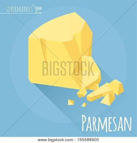 Flat design Parmesan cheese vector icon on light blue background with long shadow