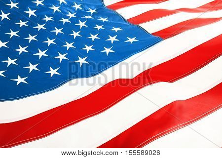Ruffled American flag, close up view
