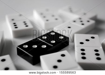 Dominoes on grey background