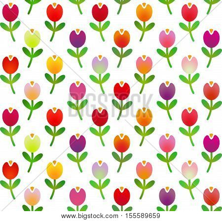 Seamless pattern in simple cartoon style with motley tulips. Vector illustration for use in web design, print or other visual area.